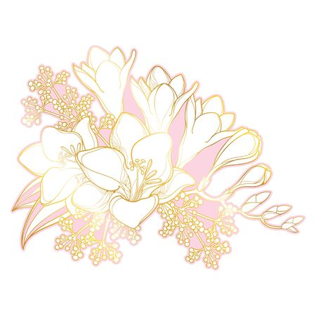 Bouquet of outline Freesia flower, bud and leaves in gold isolated.