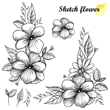Set of hand drawn sketch of flower with bud and leaf in black isolated. 向量圖像