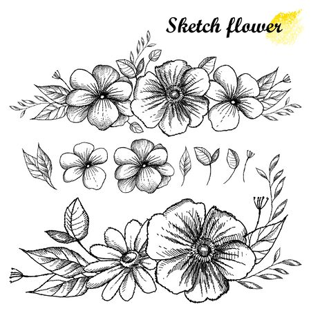 Set of hand drawn sketch of flower garland with bud in black isolated.
