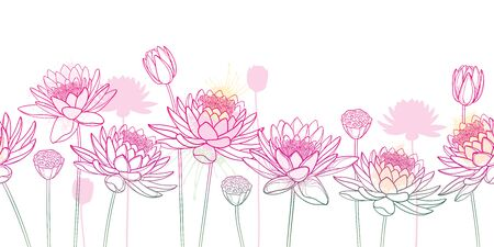 Seamless pattern of outline Lotus flower, bud and seed pod. 向量圖像