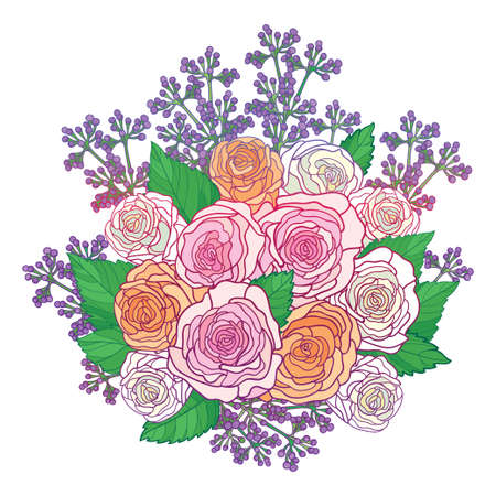 Round bouquet with outline pastel pink rose and leaves isolated on white background.