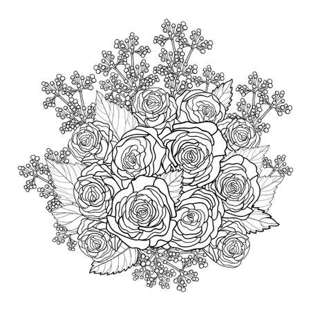 Round bouquet with outline rose and leaves in black isolated on white background. 免版税图像 - 152761988