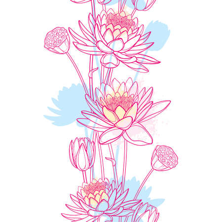 Vertical seamless pattern with Lotus or water lily, bud and seed pod in pastel pink. 免版税图像 - 152761990