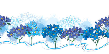 Seamless pattern with outline Forget me not bunch in blue on the white background.