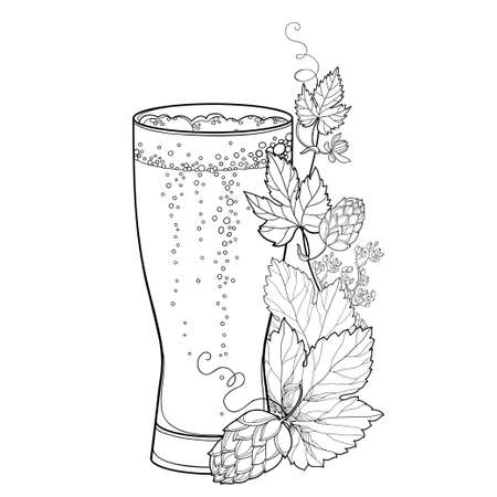 Beer glass with outline Hop leaf and cone in black isolated on white background. Vectores