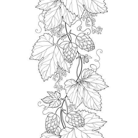 Vertical seamless pattern with outline Hop leaves and cone in black on the white background. Иллюстрация