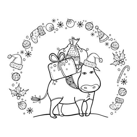 Greeting card with outline cute bull with Christmas gift in black isolated on white background.
