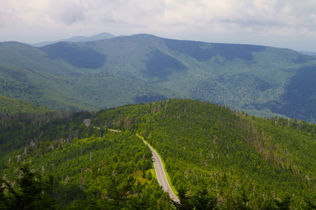The Blue Ridge Parkway in the United States, noted for its scenic beauty.