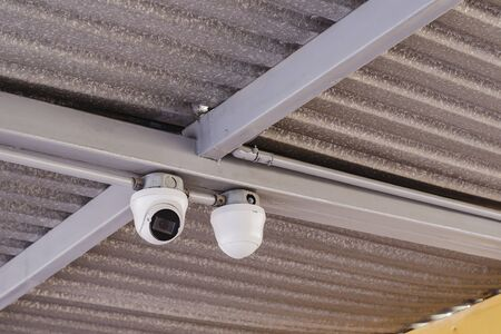 Security camera for indoor, dome, installed in an industry or factory