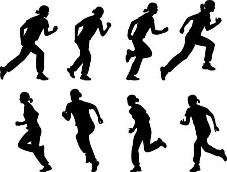 girl running silhouettes - vector Vector