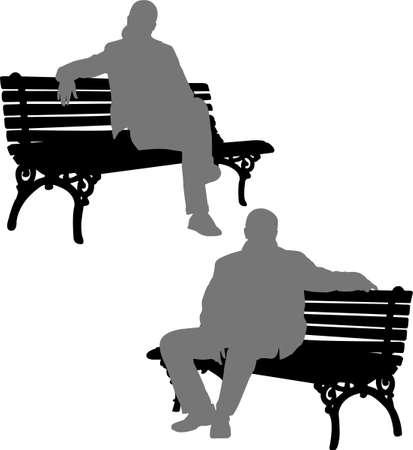 banco parque: siluetas del hombre y la mujer sentada en la banca del parque - vector Vectores