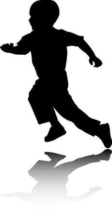 boy running silhouette - vector
