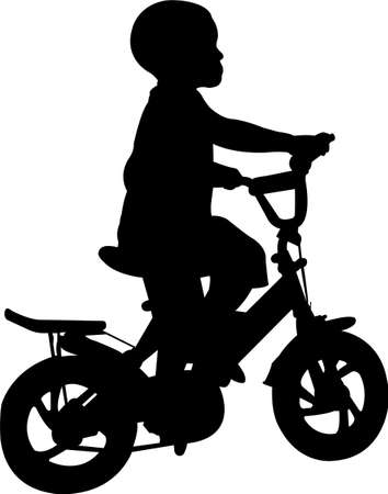 boy riding bicycle silhouette - vector