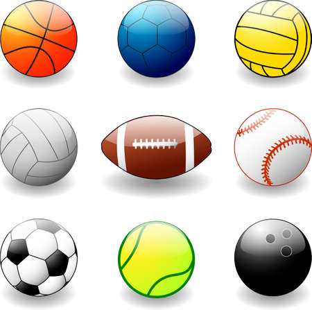 collection of sport balls - vector Vector