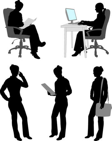 business woman silhouettes - vector