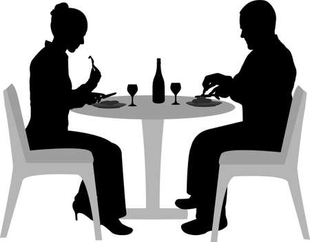 dining tables: couple sitting and dining silhouettes - vector