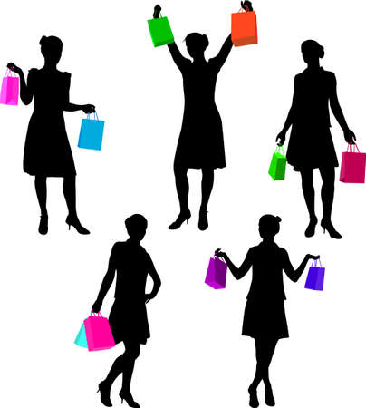 shopping girls silhouettes 2 - vector