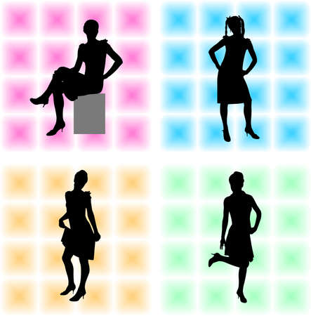 attractive girls on the abstract background - vector Stock Vector - 5421393