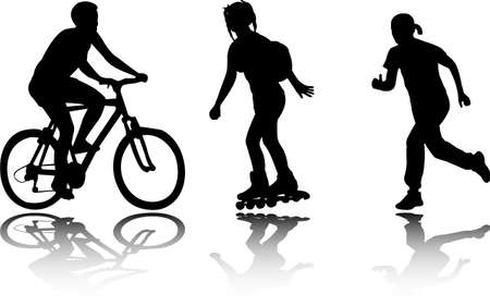bicyclists: recreation silhouettes - vector
