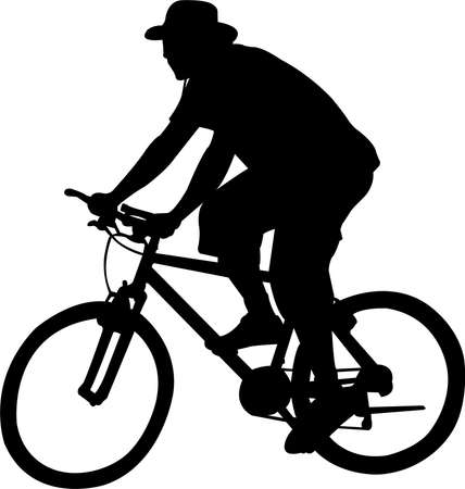 silhouette of bicyclist - vector Illustration