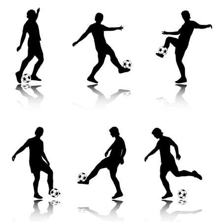jugadores de soccer: siluetas de jugadores de f�tbol - ilustraci�n vectorial
