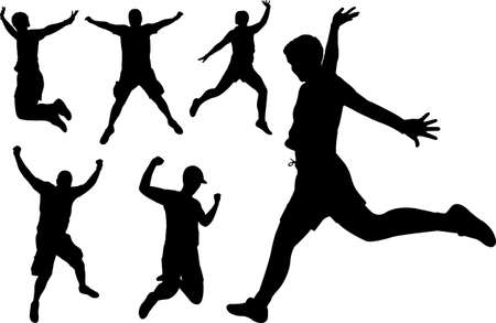 jumping people silhouettes - vector Vector