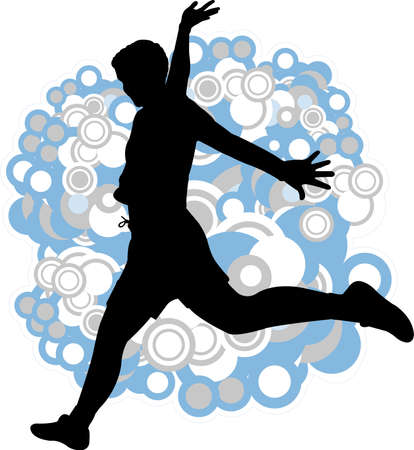 silhouette of young man jump on the abstract background - vector