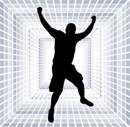 exaltation: happy man jump with hands up Illustration