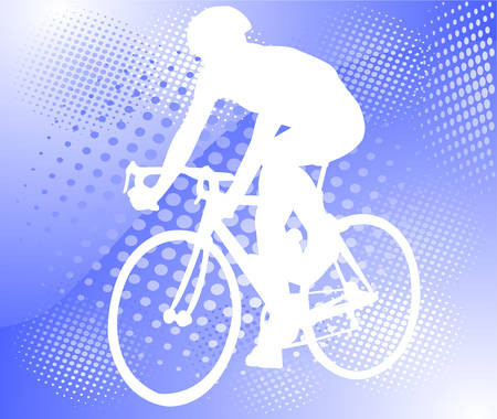 bicyclist on the abstract halftone background