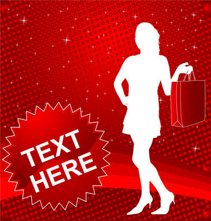 attractive girl with shopping bag on the red abstract background - vector