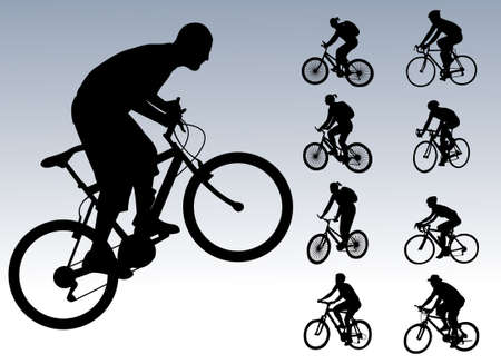 bicyclists: bicyclists collection - vector