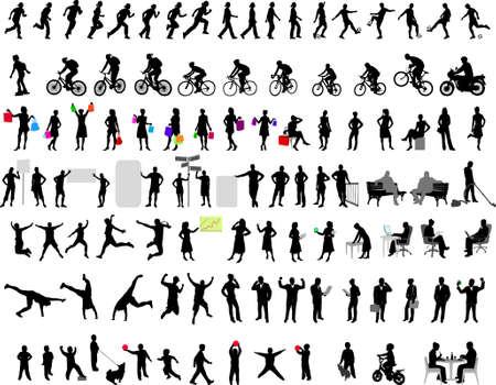 motorcyclist: 100 different people silhouettes Illustration
