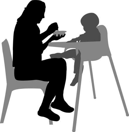 mother feeding baby in highchair Vector
