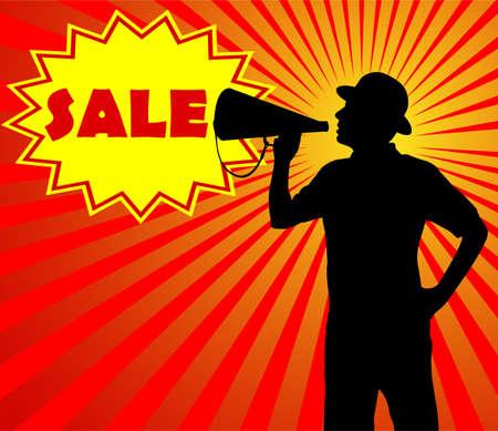 man met megafoon - verkoop concept