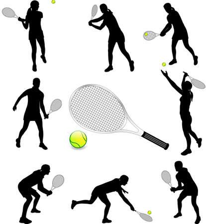 silhouettes of tennis players - vector Ilustração