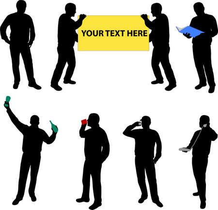 man on cell phone: siluetas de alta calidad de las personas  Vectores
