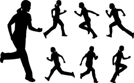 silhouettes of woman running Vector