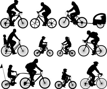helmet seat: bicyclists silhouettes collection - vector