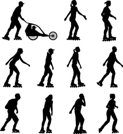 rollerskating silhouettes - vector Ilustração