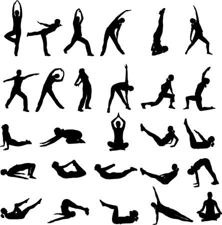 workout gym: silhouettes of girl exercising - vector