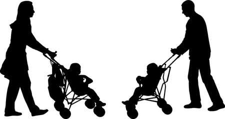man pushing: young parents pushing strollers - vector