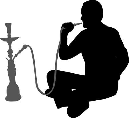 shisha: man smoking nargile - vector Illustration