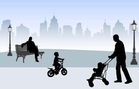 sky lantern: personnes dans le parc.  Illustration
