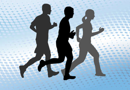 triathlon: runners silhouettes on the abstract halftone background Illustration