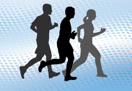 road runner: siluetas de corredores en el fondo de semitonos abstracto - vector