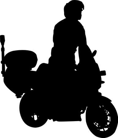 motorcyclist silhouette  Vector