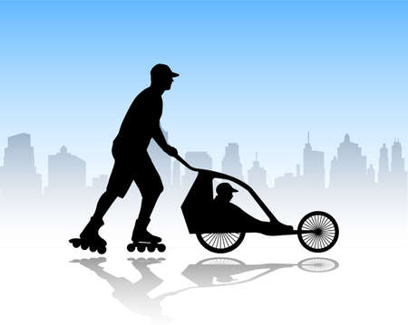 rollerskater: rollerskater pushing stroller with child in it - vector