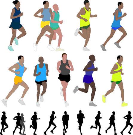 marathon runners  Stock Vector - 9441318