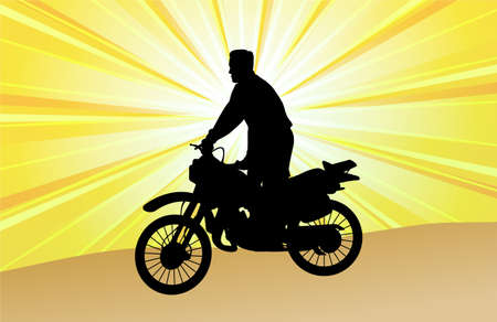 motorcyclist on the abstract background   Vector