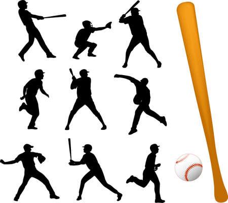 Baseball spelers silhouetten Stock Illustratie
